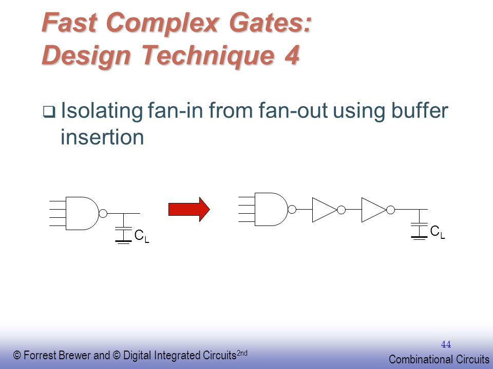 EE141 © Forrest Brewer and © Digital Integrated Circuits 2nd Combinational Circuits 44 Fast Complex Gates: Design Technique 4 Isolating fan-in from fa