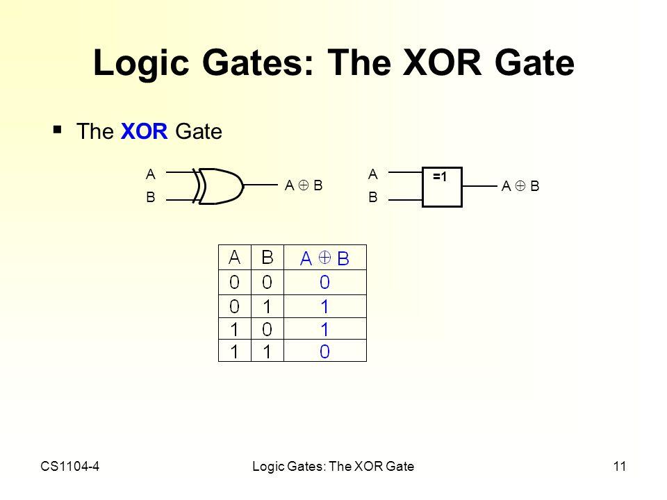 CS1104-4Logic Gates: The XOR Gate11 Logic Gates: The XOR Gate The XOR Gate =1 ABAB A B ABAB