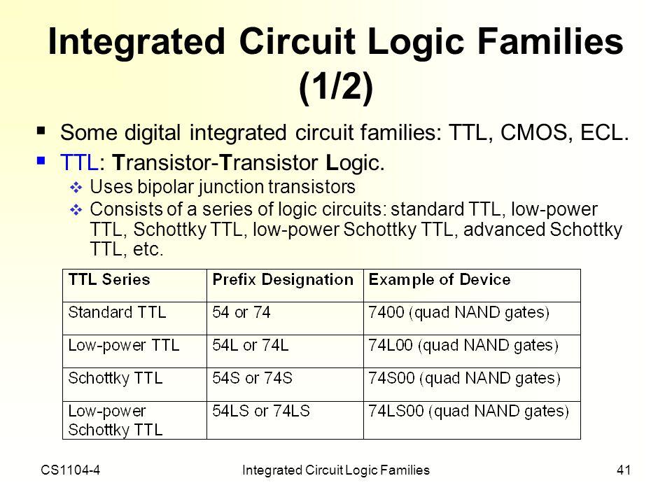 CS1104-4Integrated Circuit Logic Families41 Integrated Circuit Logic Families (1/2) Some digital integrated circuit families: TTL, CMOS, ECL. TTL: Tra