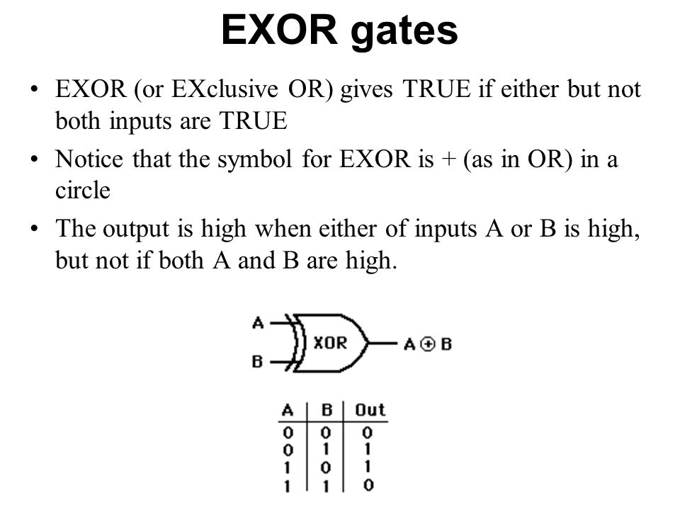 EXOR gates EXOR (or EXclusive OR) gives TRUE if either but not both inputs are TRUE Notice that the symbol for EXOR is + (as in OR) in a circle The ou