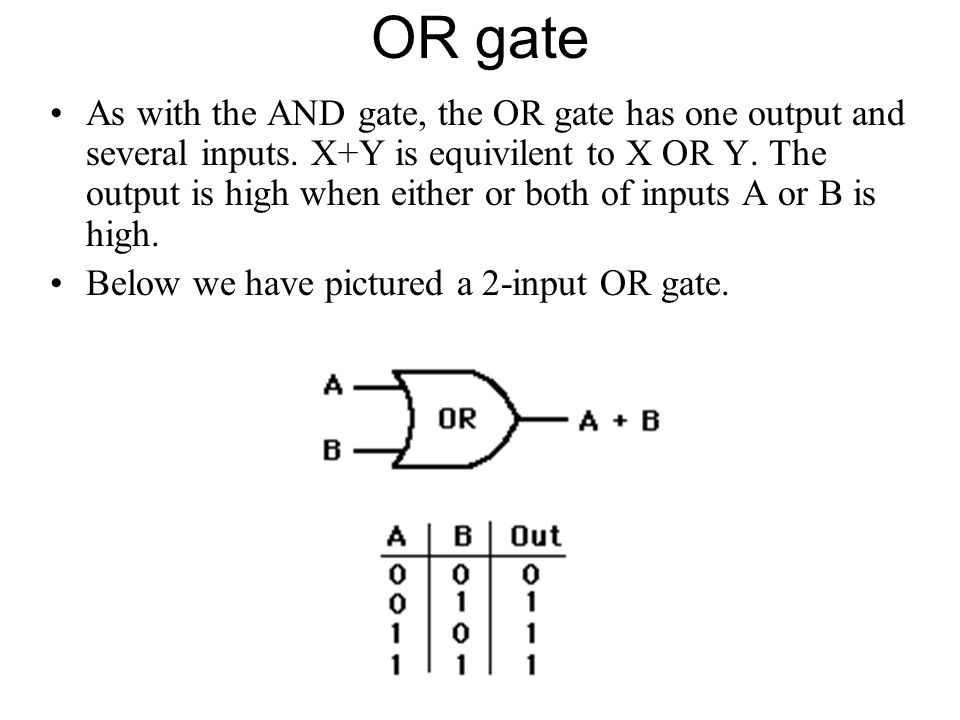 OR gate As with the AND gate, the OR gate has one output and several inputs. X+Y is equivilent to X OR Y. The output is high when either or both of in