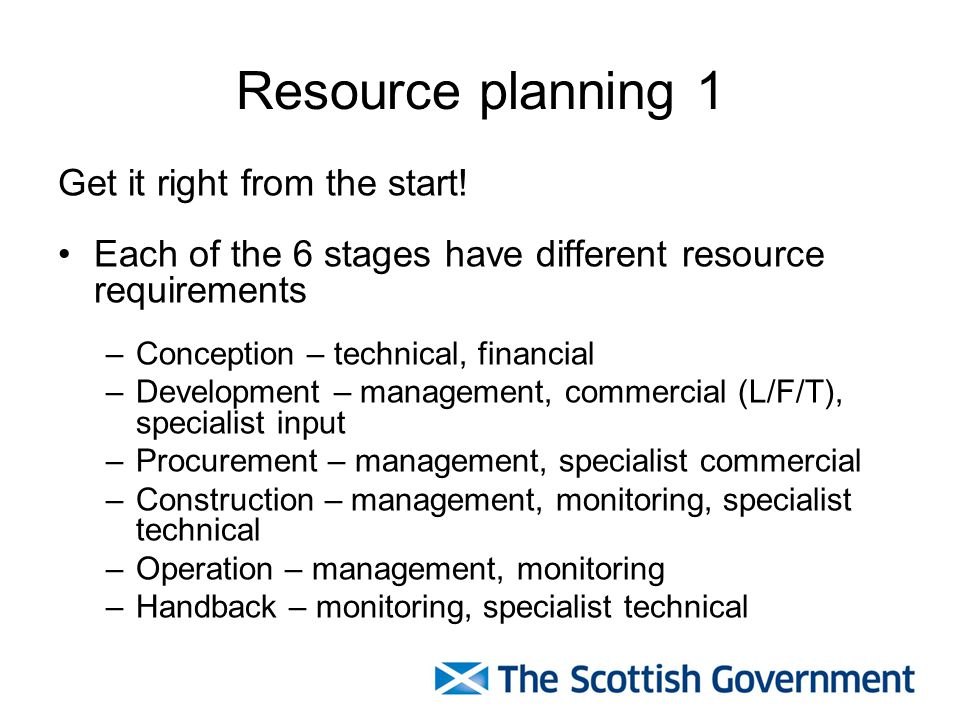 Resource planning 1 Get it right from the start! Each of the 6 stages have different resource requirements –Conception – technical, financial –Develop