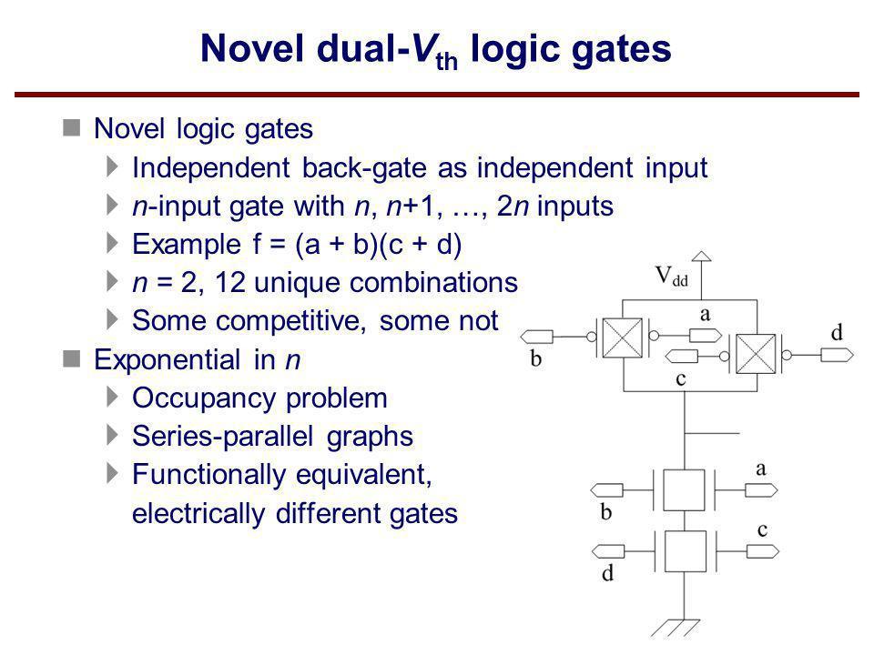 Novel dual-V th logic gates n Novel logic gates Independent back-gate as independent input n-input gate with n, n+1, …, 2n inputs Example f = (a + b)(