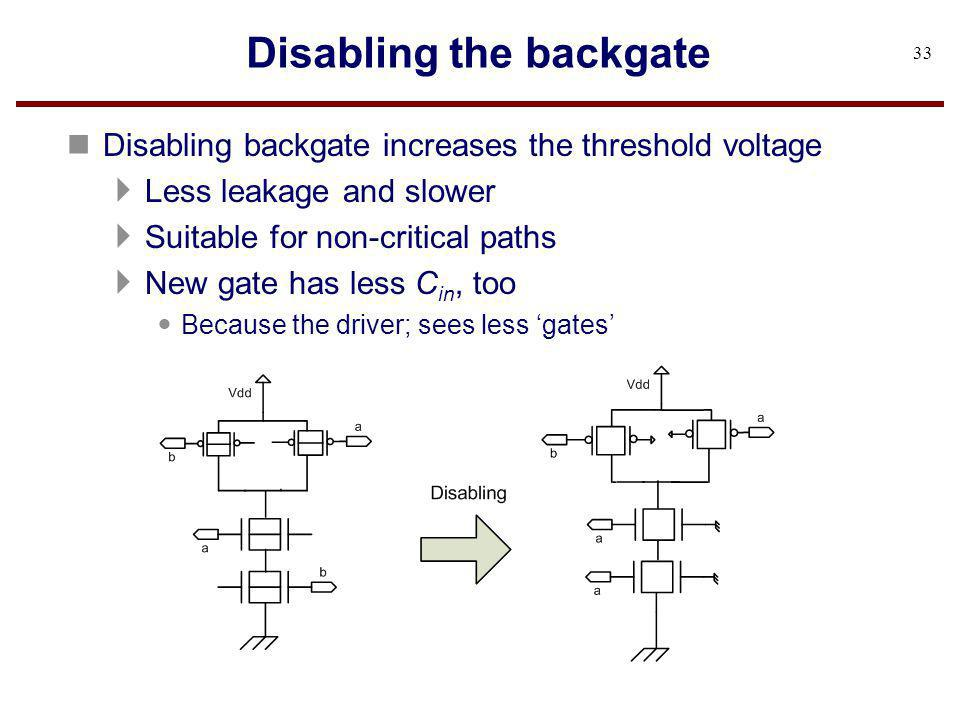 Disabling the backgate n Disabling backgate increases the threshold voltage Less leakage and slower Suitable for non-critical paths New gate has less