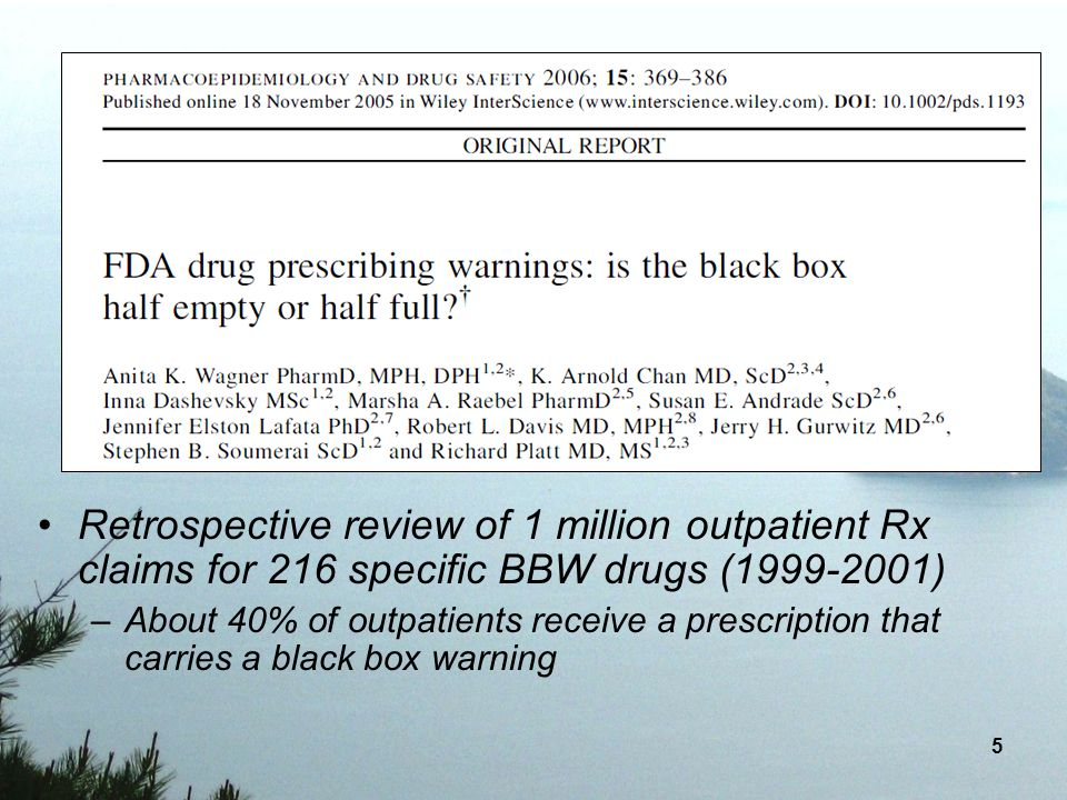 6 Among the most frequently dispensed BBW containing medications were: –drugs with recommendations against rapid discontinuation (atenolol and metoprolol), –drugs with alerts for specific indications in which the drugs should only be used (clindamycin, levothyroxine, metronidazole) –or indications were not to be used (propoxyphene, medroxyprogesterone), –drugs with warnings about adverse effects that require monitoring (triamterene, triamcinolone, fluticasone, metformin).