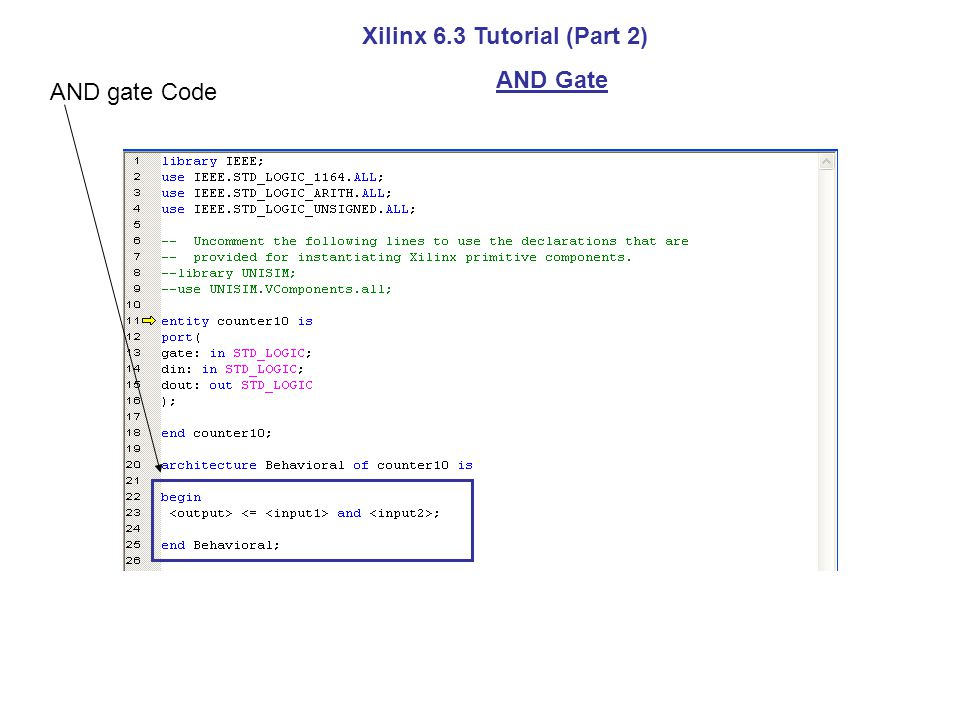 Xilinx 6.3 Tutorial (Part 2) AND Gate AND gate Code