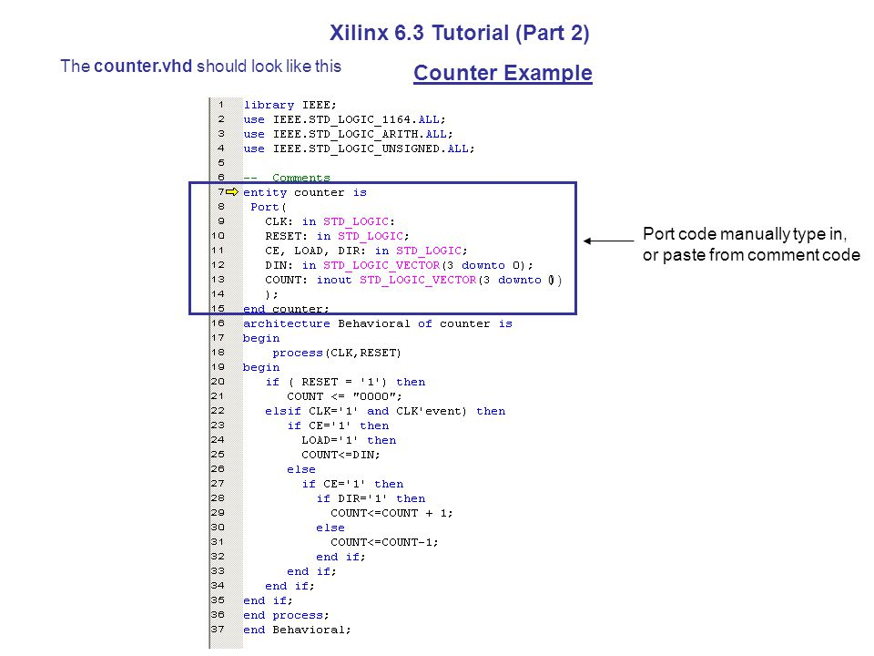 The counter.vhd should look like this Xilinx 6.3 Tutorial (Part 2) Counter Example Port code manually type in, or paste from comment code 0 )