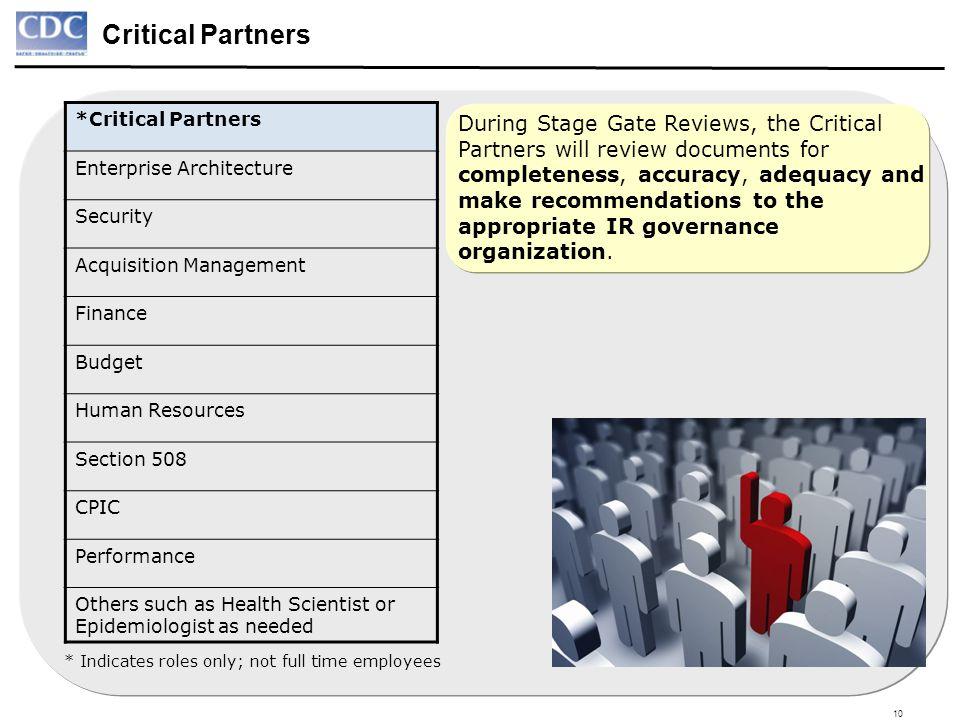 10 Critical Partners *Critical Partners Enterprise Architecture Security Acquisition Management Finance Budget Human Resources Section 508 CPIC Perfor
