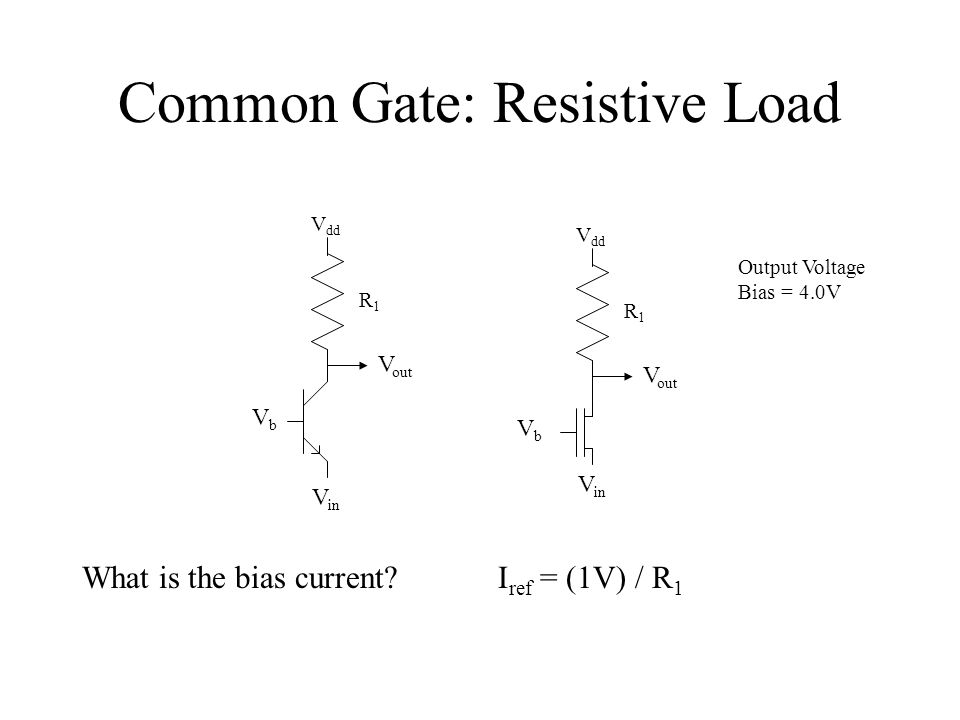 Common Gate: Small-Signal V dd V out V in VbVb R1R1 V dd V out V in VbVb R1R1 Output Voltage Bias = 4.0V I ref = (1V) / R 1 Have Input Bias g m = (1V) / (R 1 U T ) g m = (2V) / (R 1 (V b - V in -V T ) ) or gmVgmV r GND V out R1R1 +V-+V- V in Gain = g m R 1