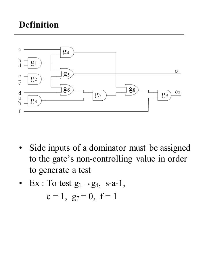 Definition Side inputs of a dominator must be assigned to the gates non-controlling value in order to generate a test Ex : To test g 1 g 4, s-a-1, c =