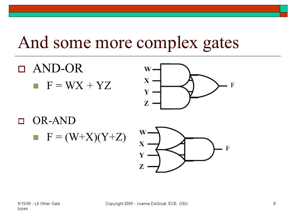 More complex gates In general, complex gates are used to reduce the circuit complexity needed to implement the Boolean function.