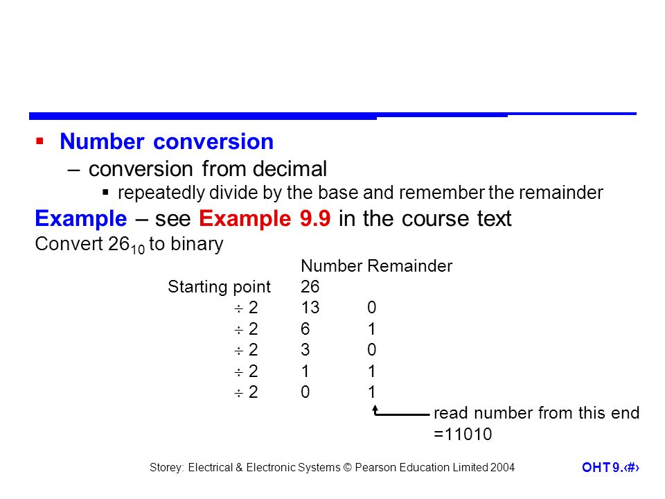 Storey: Electrical & Electronic Systems © Pearson Education Limited 2004 OHT 9.34 Number conversion –conversion from decimal repeatedly divide by the