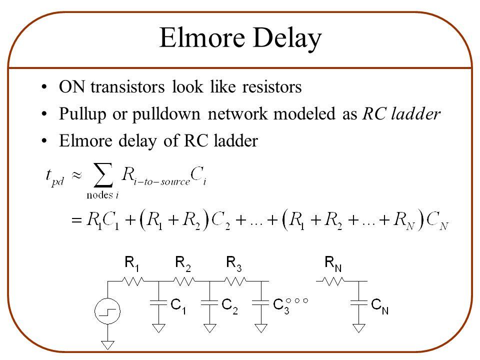 Elmore Delay ON transistors look like resistors Pullup or pulldown network modeled as RC ladder Elmore delay of RC ladder