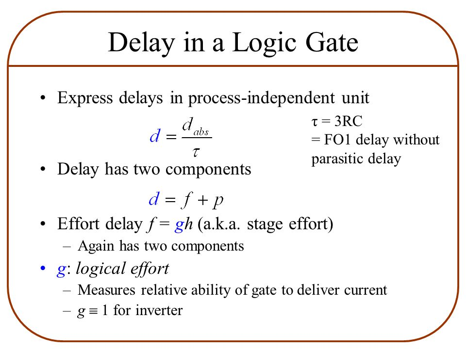 Delay in a Logic Gate Express delays in process-independent unit Delay has two components Effort delay f = gh (a.k.a.