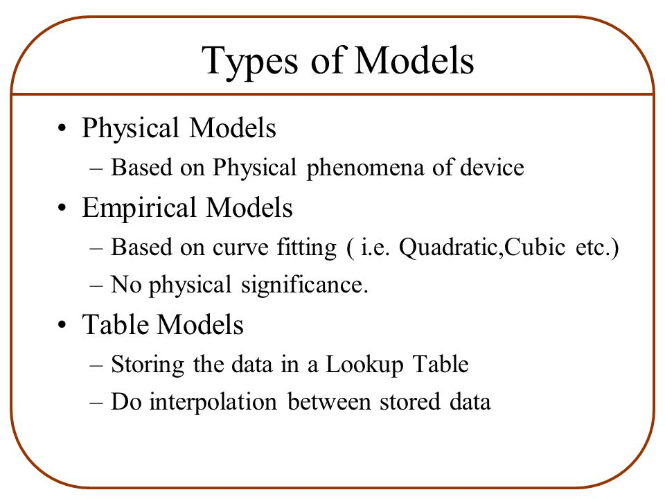 Types of Models Physical Models –Based on Physical phenomena of device Empirical Models –Based on curve fitting ( i.e.