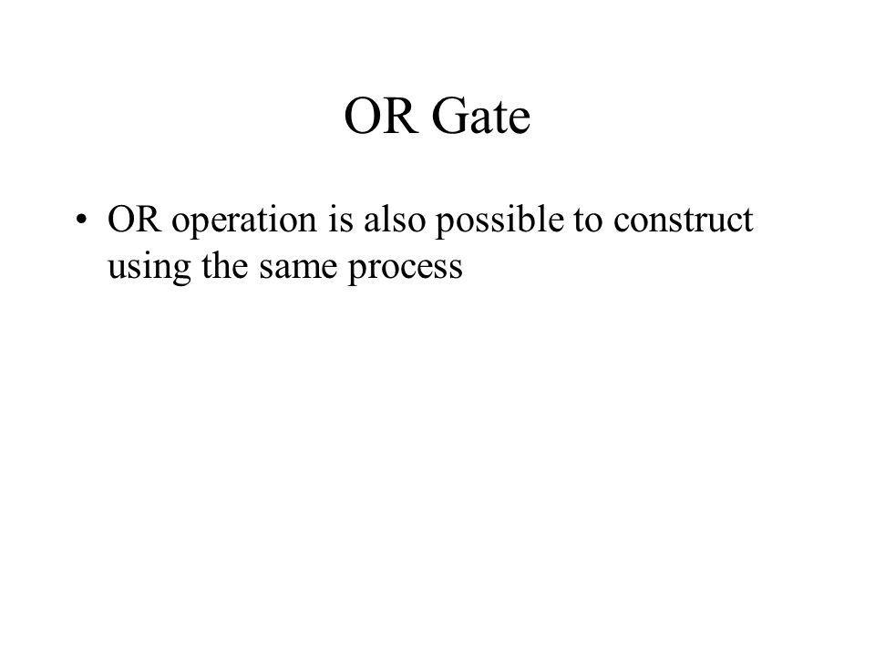 OR Gate OR operation is also possible to construct using the same process