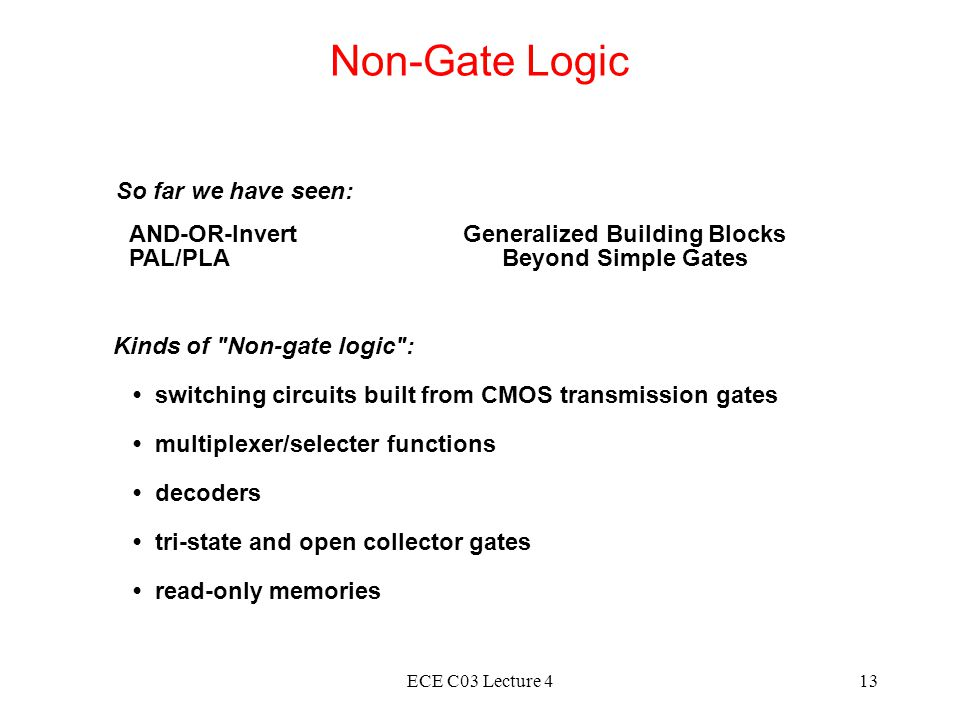 ECE C03 Lecture 413 Non-Gate Logic AND-OR-Invert PAL/PLA Generalized Building Blocks Beyond Simple Gates So far we have seen: Kinds of Non-gate logic : switching circuits built from CMOS transmission gates multiplexer/selecter functions decoders tri-state and open collector gates read-only memories