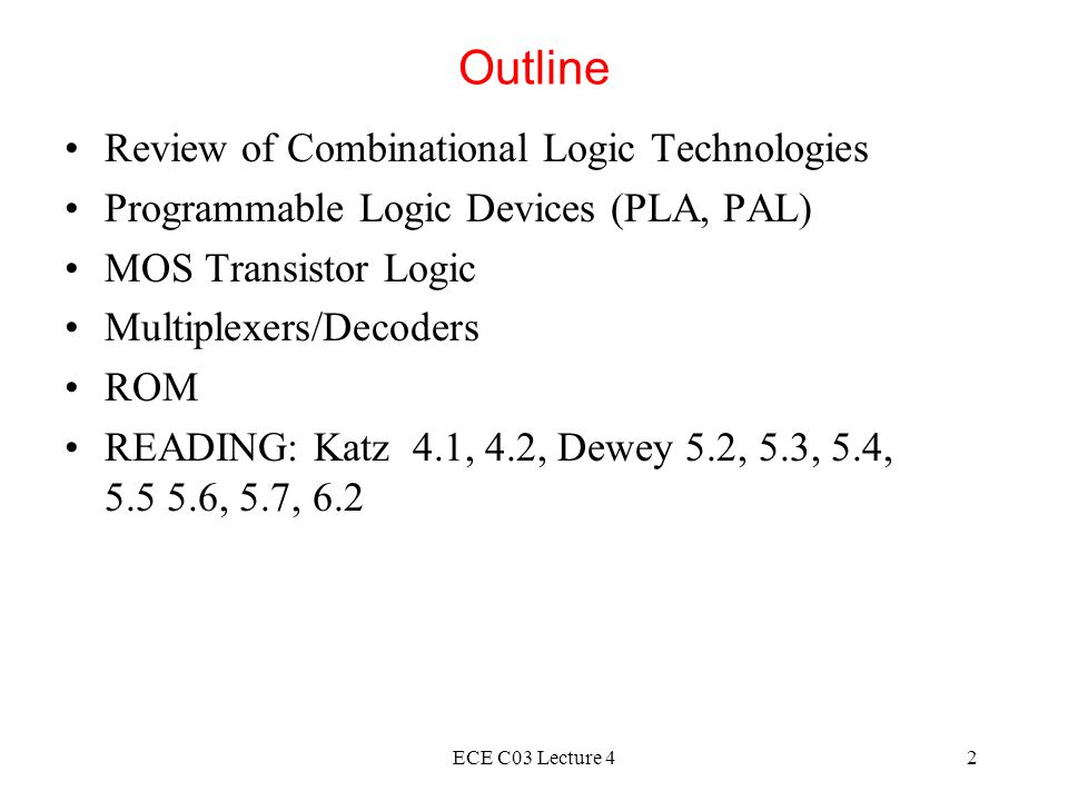 ECE C03 Lecture 42 Outline Review of Combinational Logic Technologies Programmable Logic Devices (PLA, PAL) MOS Transistor Logic Multiplexers/Decoders ROM READING: Katz 4.1, 4.2, Dewey 5.2, 5.3, 5.4, 5.5 5.6, 5.7, 6.2
