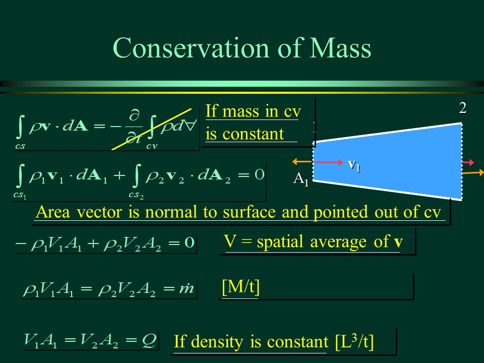 Conservation of Mass 1 2 v1v1v1v1 A1A1A1A1 V = spatial average of v If mass in cv is constant [M/t] If density is constant [L 3 /t] Area vector is normal to surface and pointed out of cv