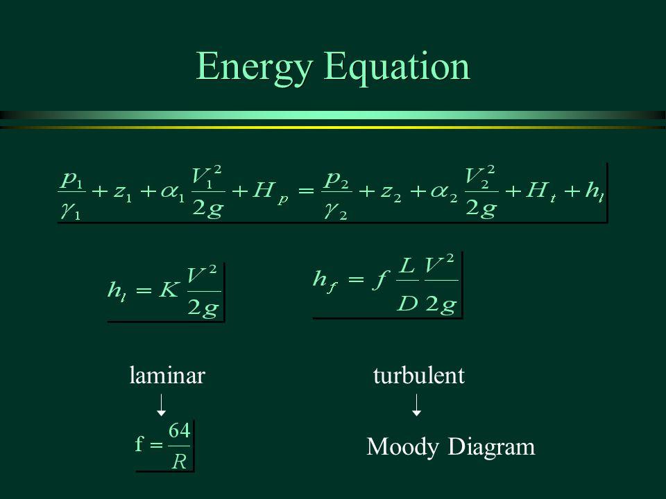 Energy Equation laminarturbulent Moody Diagram