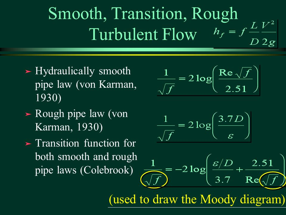 Smooth, Transition, Rough Turbulent Flow ä Hydraulically smooth pipe law (von Karman, 1930) ä Rough pipe law (von Karman, 1930) ä Transition function for both smooth and rough pipe laws (Colebrook) ä Hydraulically smooth pipe law (von Karman, 1930) ä Rough pipe law (von Karman, 1930) ä Transition function for both smooth and rough pipe laws (Colebrook) (used to draw the Moody diagram)