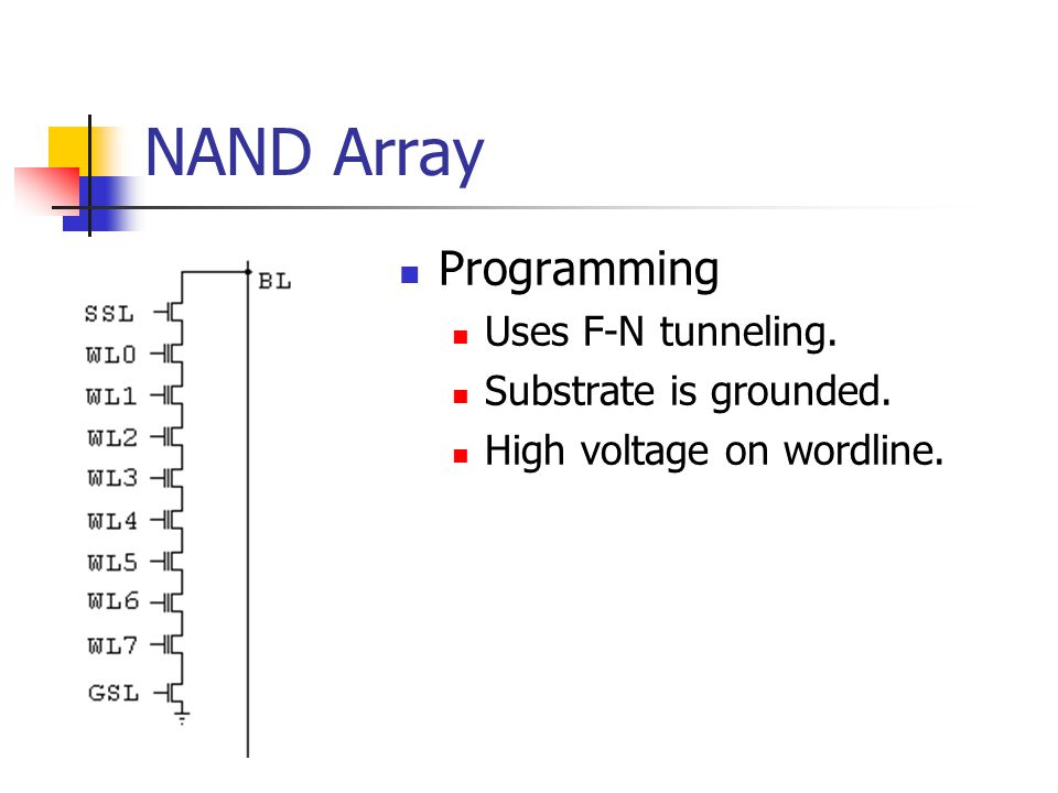 NAND Array Programming Uses F-N tunneling. Substrate is grounded. High voltage on wordline.