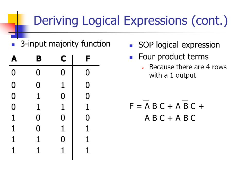 Deriving Logical Expressions (cont.) 3-input majority function ABCF 0000 0010 0100 0111 1000 1011 1101 1111 SOP logical expression Four product terms