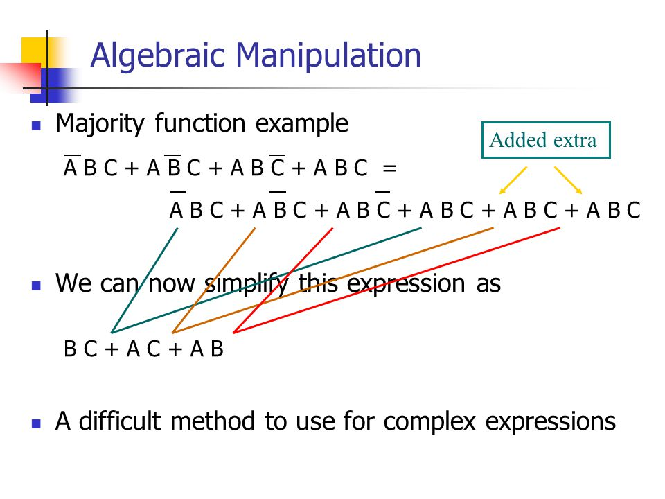 Algebraic Manipulation Majority function example A B C + A B C + A B C + A B C = A B C + A B C + A B C + A B C + A B C + A B C We can now simplify this expression as B C + A C + A B A difficult method to use for complex expressions Added extra