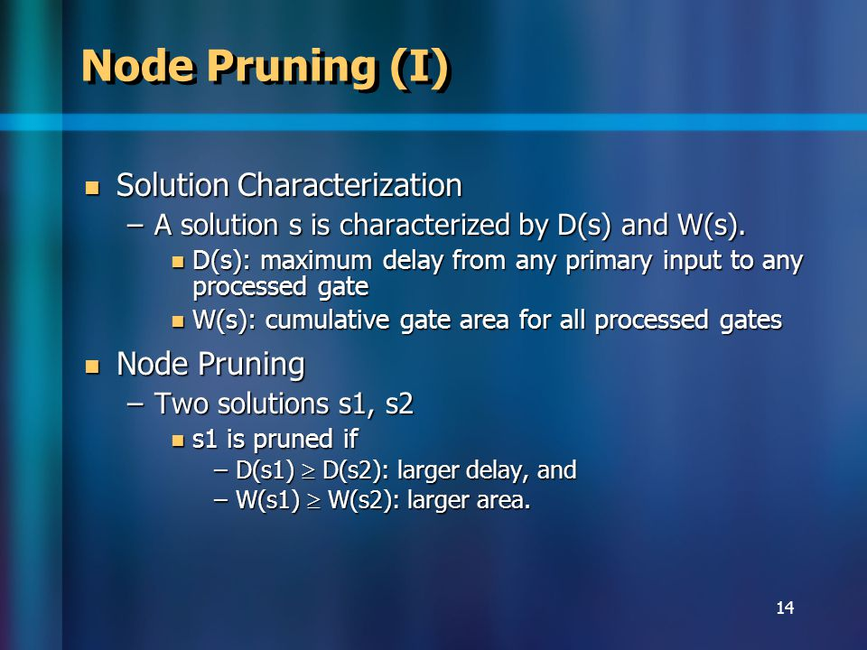 14 Node Pruning (I) Solution Characterization Solution Characterization –A solution s is characterized by D(s) and W(s).