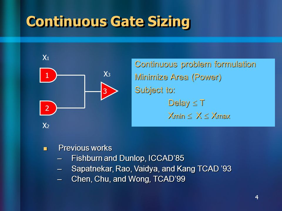 5 Motivation Trend: cell library based design Trend: cell library based design –Discrete gate sizes Need to round continuous gate sizes Need to round continuous gate sizes Sparseness of gate library big rounding error Sparseness of gate library big rounding error Timing violation