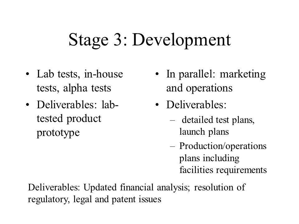 Stage 3: Development Lab tests, in-house tests, alpha tests Deliverables: lab- tested product prototype In parallel: marketing and operations Delivera