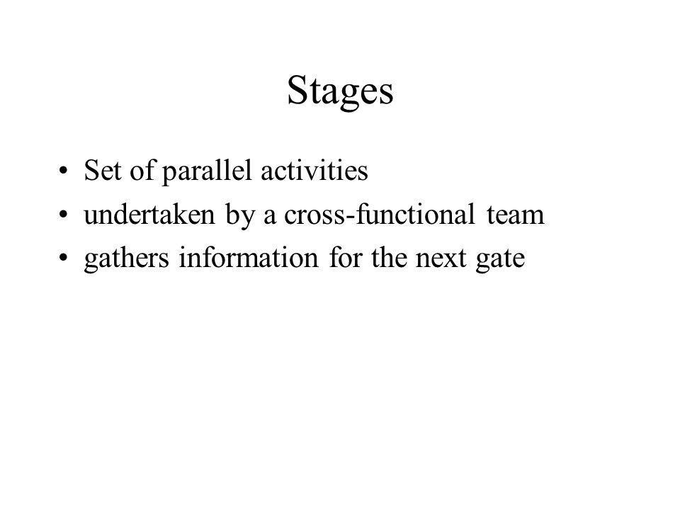 Stages Set of parallel activities undertaken by a cross-functional team gathers information for the next gate