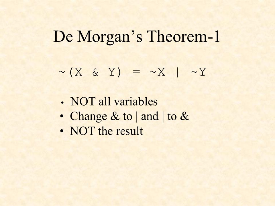 De Morgans Theorem-1 ~(X & Y) = ~X | ~Y NOT all variables Change & to | and | to & NOT the result