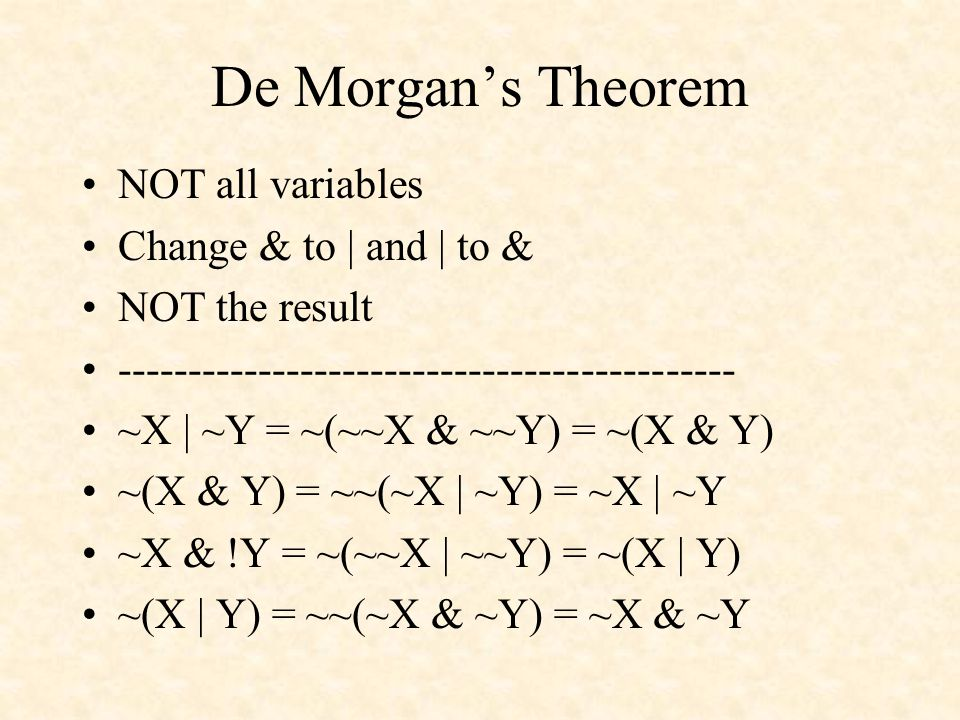 De Morgans Theorem NOT all variables Change & to | and | to & NOT the result -------------------------------------------- ~X | ~Y = ~(~~X & ~~Y) = ~(X & Y) ~(X & Y) = ~~(~X | ~Y) = ~X | ~Y ~X & !Y = ~(~~X | ~~Y) = ~(X | Y) ~(X | Y) = ~~(~X & ~Y) = ~X & ~Y