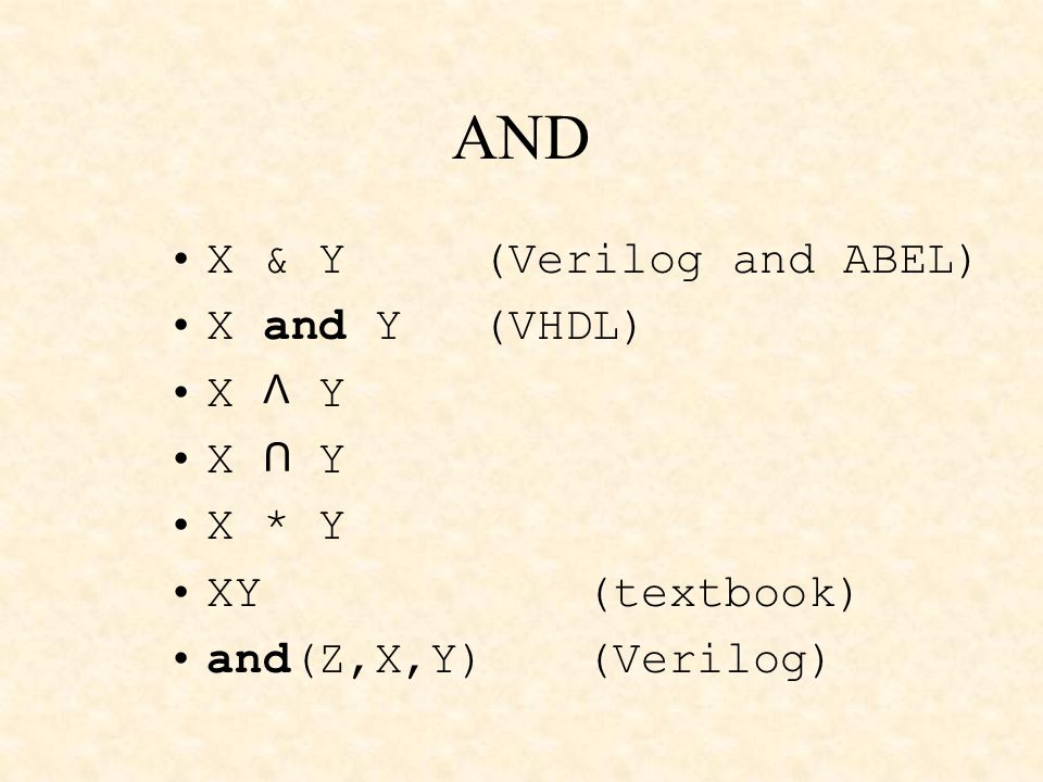 X & Y (Verilog and ABEL) X and Y (VHDL) X Y X * Y XY(textbook) and(Z,X,Y)(Verilog) AND U V