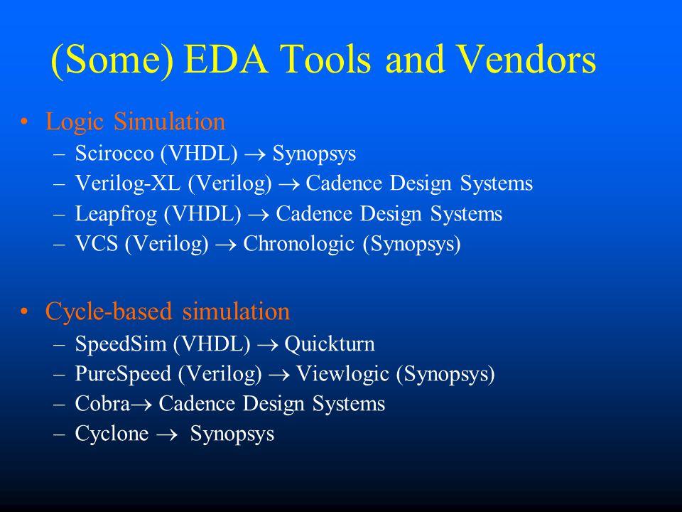 (Some) EDA Tools and Vendors Logic Simulation –Scirocco (VHDL) Synopsys –Verilog-XL (Verilog) Cadence Design Systems –Leapfrog (VHDL) Cadence Design Systems –VCS (Verilog) Chronologic (Synopsys) Cycle-based simulation –SpeedSim (VHDL) Quickturn –PureSpeed (Verilog) Viewlogic (Synopsys) –Cobra Cadence Design Systems –Cyclone Synopsys