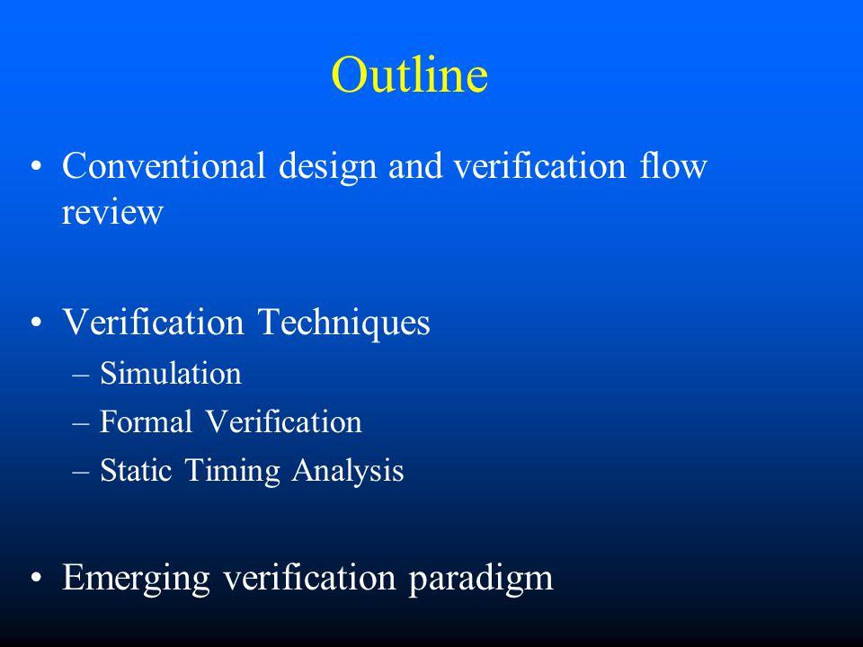 Outline Conventional design and verification flow review Verification Techniques –Simulation –Formal Verification –Static Timing Analysis Emerging verification paradigm