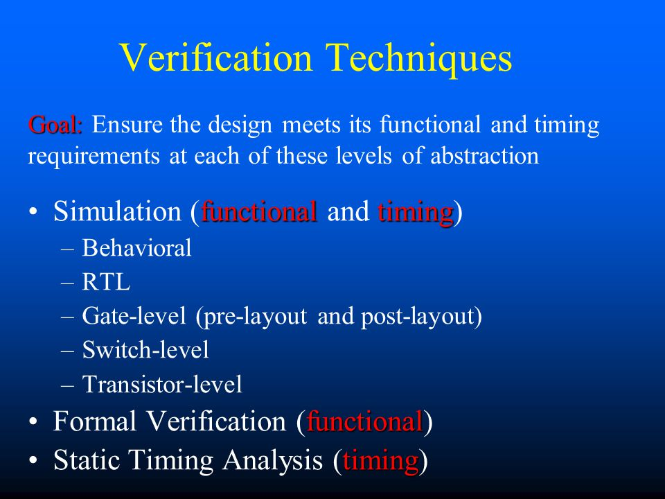 Summary Conventional design and verification flow review Verification Techniques –Simulation Behavioral, RTL, Gate-level, Switch-level, Transistor-level –Formal Verification –Static Timing Analysis Emerging verification paradigm –Functional: cycle-based, formal verification –Timing: Static Timing Analysis