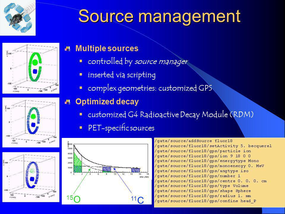 10 Source management Multiple sources controlled by source manager inserted via scripting complex geometries: customized GPS Optimized decay customize