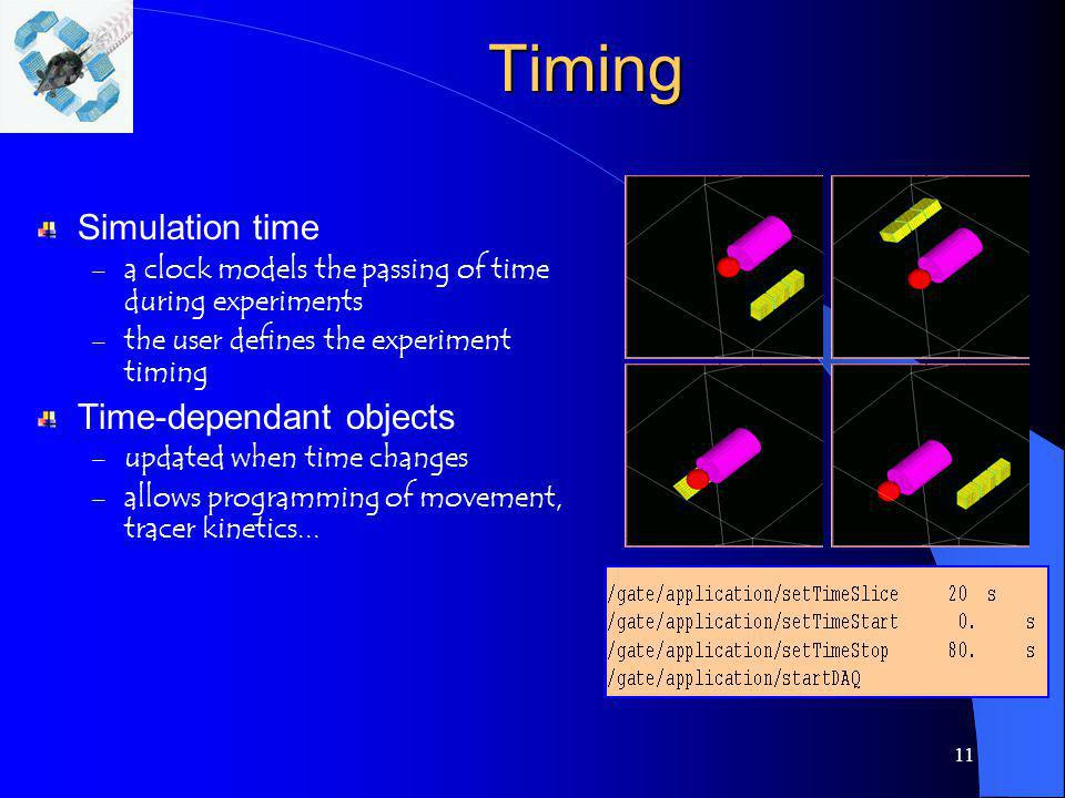 11Timing Simulation time – a clock models the passing of time during experiments – the user defines the experiment timing Time-dependant objects – upd