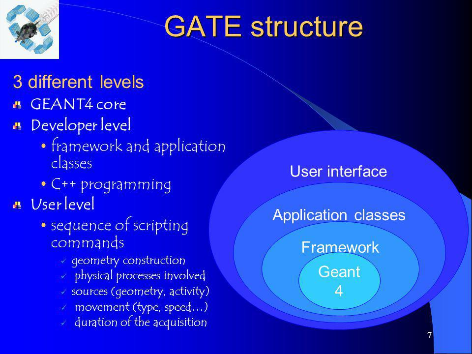 7 GATE structure 3 different levels GEANT4 core Developer level framework and application classes C++ programming User level sequence of scripting com