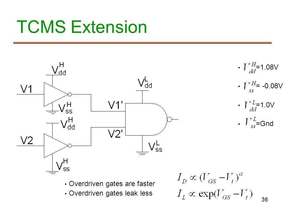 36 TCMS Extension =1.08V = -0.08V =1.0V =Gnd Overdriven gates are faster Overdriven gates leak less