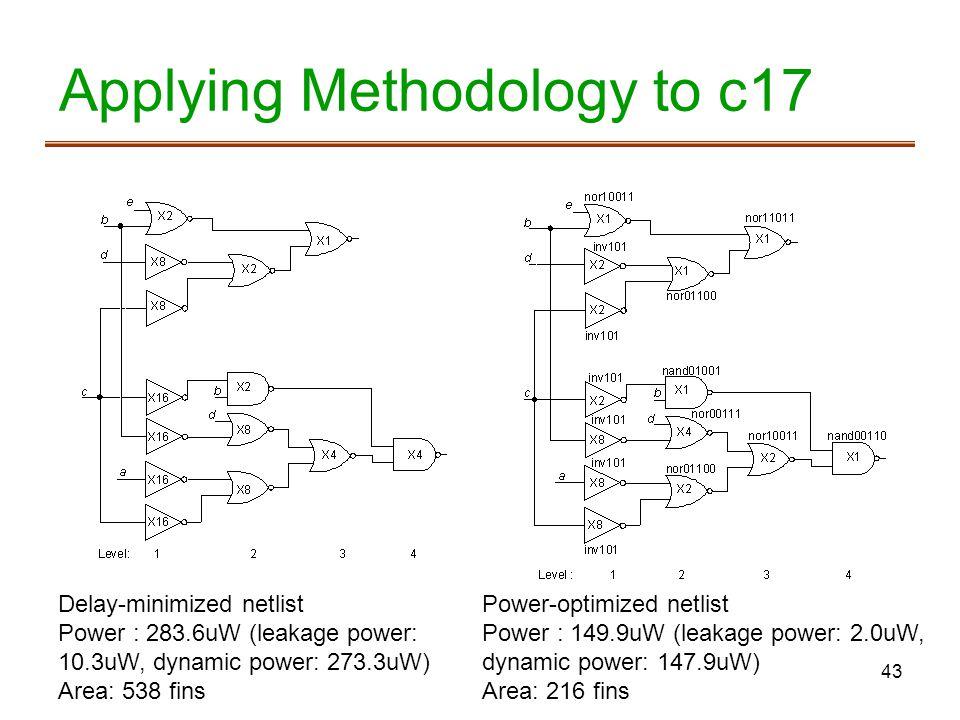 43 Applying Methodology to c17 Delay-minimized netlist Power : 283.6uW (leakage power: 10.3uW, dynamic power: 273.3uW) Area: 538 fins Power-optimized