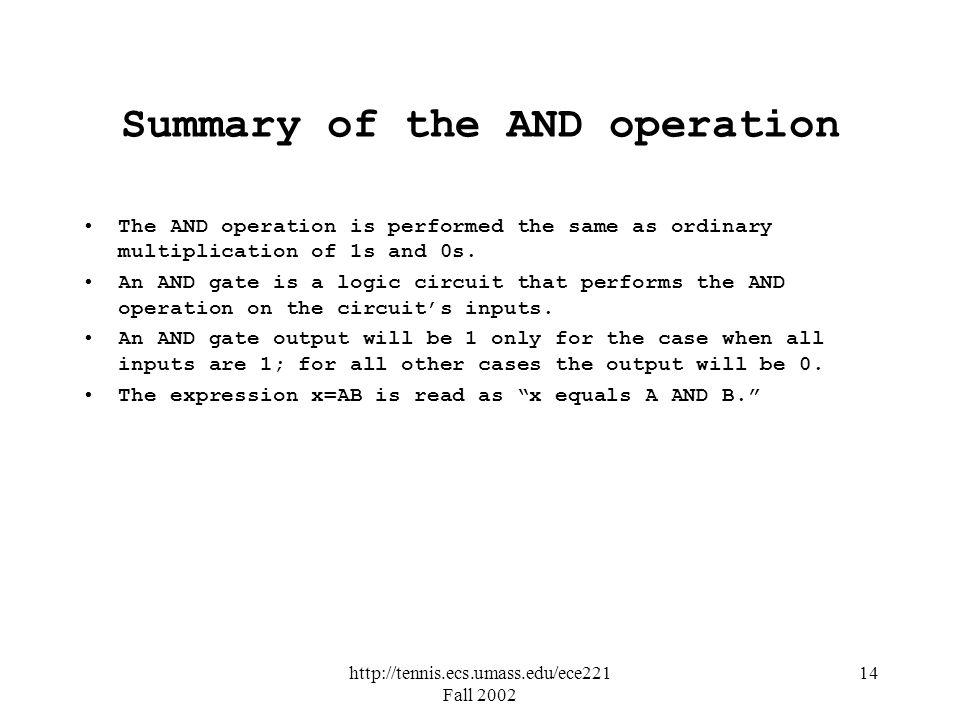 http://tennis.ecs.umass.edu/ece221 Fall 2002 14 Summary of the AND operation The AND operation is performed the same as ordinary multiplication of 1s