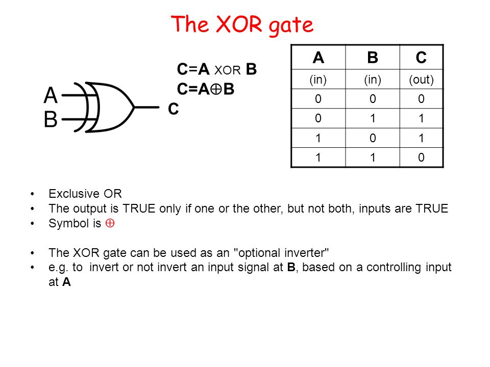 The XOR gate Exclusive OR The output is TRUE only if one or the other, but not both, inputs are TRUE Symbol is The XOR gate can be used as an optional inverter e.g.