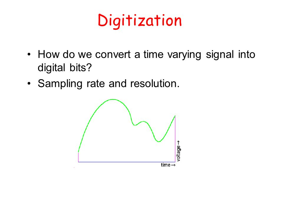 Digitization How do we convert a time varying signal into digital bits.