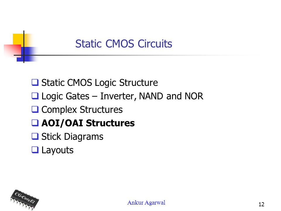 Ankur Agarwal 12 Static CMOS Circuits Static CMOS Logic Structure Logic Gates – Inverter, NAND and NOR Complex Structures AOI/OAI Structures Stick Diagrams Layouts