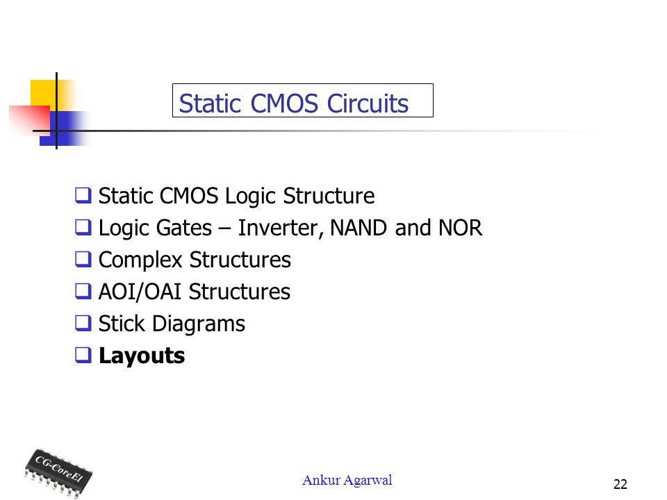 Ankur Agarwal 22 Static CMOS Circuits Static CMOS Logic Structure Logic Gates – Inverter, NAND and NOR Complex Structures AOI/OAI Structures Stick Diagrams Layouts