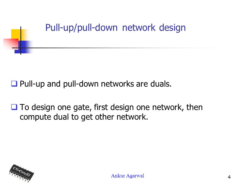 Ankur Agarwal 4 Pull-up/pull-down network design Pull-up and pull-down networks are duals.