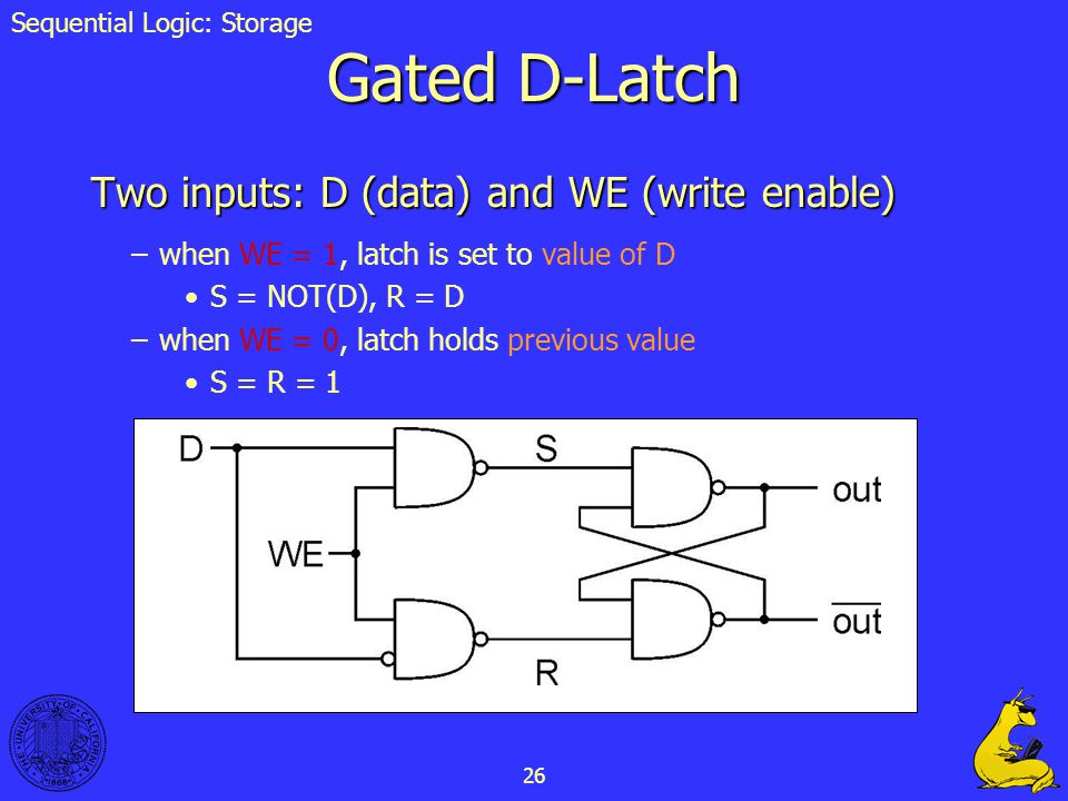 26 Gated D-Latch Two inputs: D (data) and WE (write enable) –when WE = 1, latch is set to value of D S = NOT(D), R = D –when WE = 0, latch holds previ